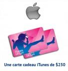 Concours gratuit : Spéciale Apple : Une carte cadeau iTunes de $250