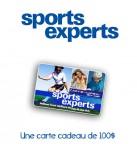 Concours gratuit : Spécial : Une carte cadeau d'une valeur de $100 chez Sports Experts