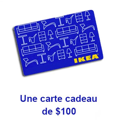 concours gratuit sp cial une carte cadeau d 39 une valeur de 100 chez ikea. Black Bedroom Furniture Sets. Home Design Ideas