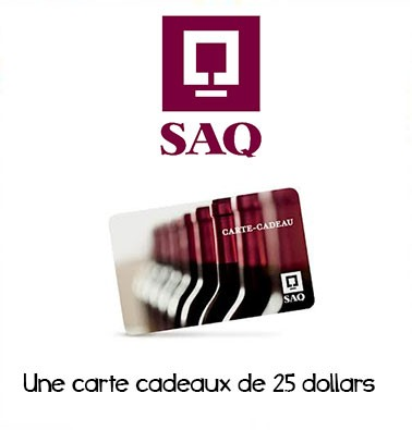 Concours gratuit : Spécial SAQ : Une carte cadeau d'une valeur de $25 chez SAQ