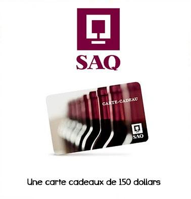 Concours gratuit : Spécial SAQ : Une carte cadeau d'une valeur de $150 chez SAQ