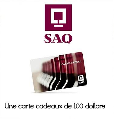 Concours gratuit : Spécial SAQ : Une carte cadeau d'une valeur de $100 chez SAQ