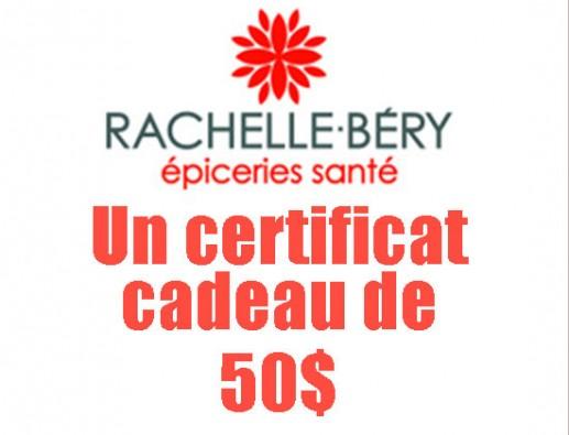 Concours gratuit : SPÉCIAL ÉPICERIE: Un  Certificat cadeau Rachelle Béry de 50$