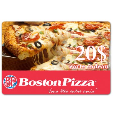 Concours gratuit : Gagnez une carte cadeau de 20$ chez Boston Pizza