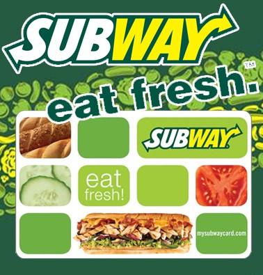 Concours gratuit : Une Carte-cadeau Subway de 10$